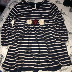 Pippa and Julie girls navy blue&white dress size:6